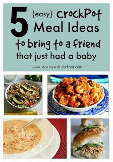 5 easy crockpot meals to bring to a friend that just had a baby! #easydinner #crockpot #slowcooker