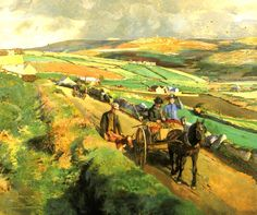 The Road to Market by Harold Harvey (1874-1941).... A wonderful view of the West Penwith peninsula in Cornwall.
