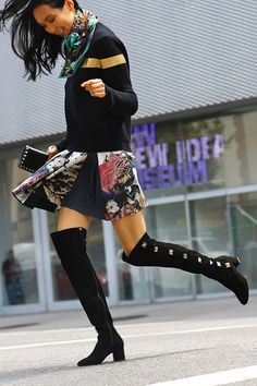 Take on anything in knee-high Valentino boots (Photographed by Phil Oh)