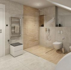 Fliesen in Stein- und Holzoptik im Bad kombinieren … Stone and wood-effect tiles in the bathroom combine Small Spa Bathroom, Spa Bathroom Design, Bathroom Layout, Dream Bathrooms, Bathroom Styling, Modern Bathrooms, Shower Bathroom, Bathroom Lighting, Wood Effect Tiles