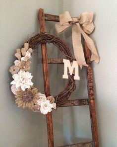 Burlap wreath, bridal shower, rustic, wedding, shower decor, wedding decor, DIY gift