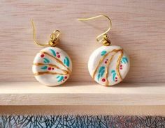 Hand made small dish motif earrings