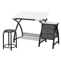 This three-piece center by Studio Designs provides a comfortable work space and keeps your supplies easily accessible. The table top is adjustable up to 40 degrees and includes a 24-inch pencil ledge that slides up and locks into place when needed.