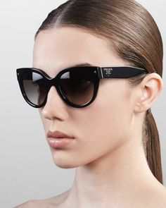 Heritage+Cat-Eye+Sunglasses,+Black+by+Prada+at+Neiman+Marcus.