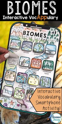 Biomes Interactive VocAPPulary™ This creative resource is a simple, yet effective way for students to learn vocabulary on a specific topic! Vocabulary words included in this set: biomes, climate, biosphere, permafrost, habitat, adaptation, deciduous forest, coniferous forest, savanna, tide pools, grasslands, kelp forest, tundra, meadow, woodland, floodplain
