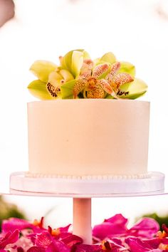 Pink, Orange and Green Orchid Cake Floral - DONE