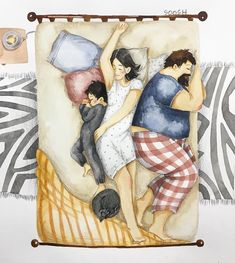 Wombart - great art from contemporary artists Mother Daughter Art, Daddy Daughter, Family Illustration, Cute Illustration, Style Anime, Good Night Sleep Tight, Watercolor Drawing, Kids Sleep, Love Drawings