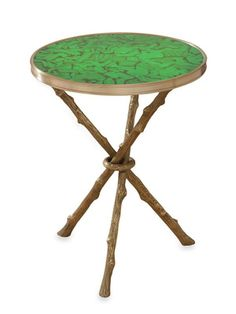 """Twig Table, by Global Views. Round antiqued brass and faux malachite accent table. 16½""""Diam x 22""""H"""
