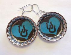Blue Heart Lucky Horseshoe Bottle Cap Earrings by StarBoundWestern