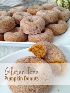 Gluten Free Pumpkin Donuts with Sugar - I made these with melted butter and as little muffins. Gluten Free Deserts, Gluten Free Donuts, Gluten Free Sweets, Gluten Free Breakfasts, Foods With Gluten, Gluten Free Cooking, Dairy Free Recipes, Vegan Gluten Free, Gluten Free Pumpkin Donut Recipe