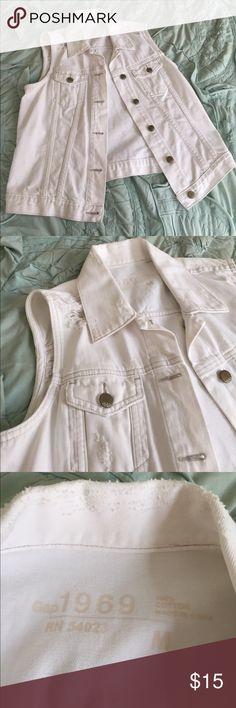 White Denim Vest Gap Destroyed Denim Vest. Never Worn! GAP Jackets & Coats Vests