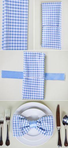 DIY Cloth Napkins - Bead for a baby boy shower/dinner party Bow Tie Napkins, Cloth Napkins, Ideias Diy, Boys Bow Ties, Napkin Folding, Diy Bow, Decoration Table, Origami Decoration, Baby Boy Shower