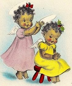 christmas greetings 1948 a Christmas Christmas card with little girl angels. Vintage cards with black characters are rare finds. Vintage Christmas Images, Old Fashioned Christmas, Christmas Past, Retro Christmas, Vintage Holiday, Christmas Pictures, Christmas Angels, Antique Christmas, Vintage Greeting Cards