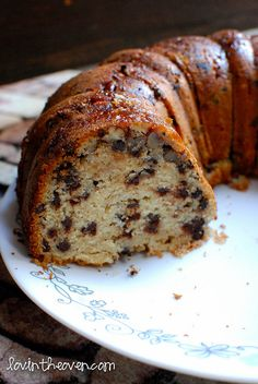 Chocolate Chip Bundt Cake - this is in the oven right now - minus the nut topping.