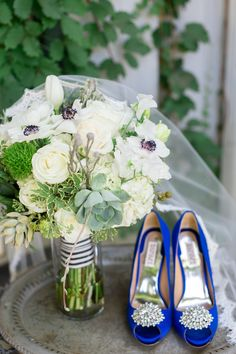 Blue Heels White Flower Bouwuet Succulents | The-Palms-Chico-California-Wedding-Photographer-TréCreative