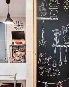 La actualización de mi cocina Art Quotes, Chalkboard, Home Decor, Vessel Sink, Kitchen Columns, Stainless Steel Appliances, Red Glass, Big Kitchen, Decoration Home