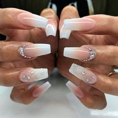 20 Worth Trying Long Stiletto Nails Designs - Stylendesigns awesome 25 Fancy White Coffin Nails - Bright and Fasionable Designs Frensh Nails, Prom Nails, Wedding Nails, Fun Nails, Glitter Nails, Wedding Acrylic Nails, Glitter Eye, Long Stiletto Nails, White Coffin Nails