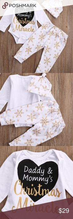Daddy & Mommy's Christmas Miracle 3 Piece Set Xmas 100% Soft cotton long sleeve onesie, pants and beanie hat. Ships same day if f ordered by 10:09 CST. Bundle 3 items and save 15%. Matching Sets