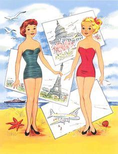 Around the Word with Connie & Jean Paper Dolls (2 of 8), Saalfield #2767 | bonecas de papel, paper doll, muñecas de papel