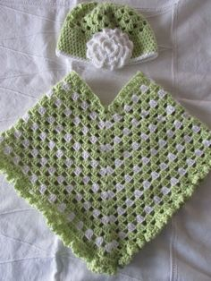 Soft Green and White Crocheted Poncho and Matching Hat - Girl's Poncho - Fall Poncho - Girl's Shawl - Hat with Flower by MomsGiftShoppe on Etsy