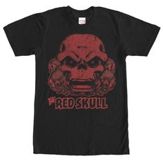 Marvel Red Skull Collage Mens Graphic T Shirt, Men's, Size: Medium, Black