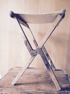 Vintage Leather Camp Stool Foldable Chair by TheDarkContinent
