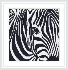 Zebra head macro cross stitch pattern. Animal. Africa. Safari. Wild. Nature. Stylised. Feature piece. Gift. by Crossstitchinn on Etsy