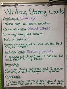 """""""Writing Strong Leads"""" anchor chart - this should help with personal narratives Writing Strategies, Writing Lessons, Teaching Writing, Writing Skills, Writing Ideas, Teaching Kids, Writing Process, Talk 4 Writing, Teaching Literature"""