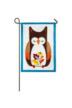 Weather and fade resistant. 12.5in x 18in double-sided polyester felt indoor / outdoor flag with fall design. Fits garden size flag pole, not included. Packaged in poly bag with header card.   Autumn Owl Flag by Walker's. Home & Gifts - Home Decor - Outdoor Alabama