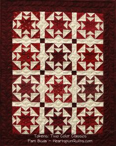 Sunset Ridge quilt ~ one of three small quilts in the Tokens of the Past: Two Color Classics pattern. Designed by Pam Buda for HeartspunQuilts.com