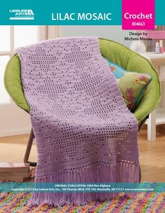 Lilac Mosaic Afghan ePattern - The pattern in this filet crochet afghan is reminiscent of the shape and design of beautiful mosaic tile work. Filet crochet is a fabulous decorative technique and it's not just for doilies anymore! Filet crochet is worked from a square-grid chart; pictures, motifs or patterns are created by combining solid and open-space blocks. The Lilac Mosaic afghan's finished size is 35' w x 52' l, excluding fringe (89 cm x 132 cm). Choose medium weight yarn in one color…