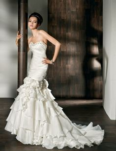 Gorgeous sweetheart trumpet/mermaid chapel train bridal gowns