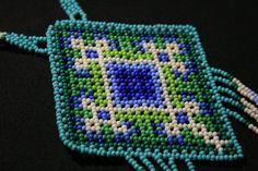 Collar Huichol Perler Patterns, Beading Tutorials, Ali, Mandala, Beaded Necklace, Blanket, Beads, Crochet, Flowers