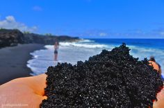Kaimū beach is a very young black sand beach south of Pahoa in the Puna district on the Big Island. Kaimū bay used to be home to one of the most beautiful and famous black sand beaches of Hawaii, until the bay got covered by 50 ft of lava in 1990.