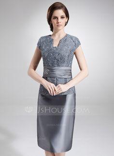 Tubo Decote V Coquetel Tafetá Renda Vestido para a mãe da noiva com Bordado…