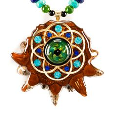 Fume Implosion Glass w/ Seed of Life Multi-Glow Necklace | Third Eye Pinecones