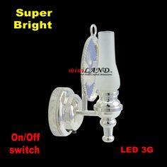 Wall oil  sconce SUPER bright battery LED LAMP Dollhouse miniature light SILVER #miniLAND