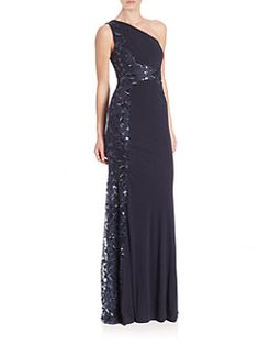 David Meister - Beaded One-Shoulder Jersey Gown