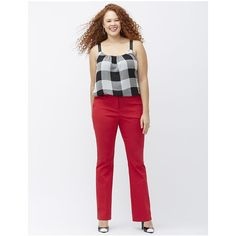 Lane Bryant Plus Size Sophie Sexy Stretch bootcut pant  Size 28, red ($60) ❤ liked on Polyvore featuring pants, red, white stretch pants, plus size tall pants, stretch pants, white pants and red pants