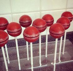 Cricket ball cake pops by definitely cake! Cricket Birthday Cake, Cricket Theme Cake, 11th Birthday, Birthday Treats, Birthday Party Decorations, Birthday Cakes, Cake Pops, Cricket Wedding, Sport Cakes