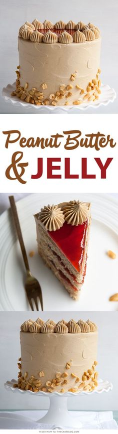 Peanut Butter & Jelly Cake | peanut butter cake with brown sugar peanut butter frosting, strawberry jam and chopped peanuts | by Tessa Huff for TheCakeBlog.com