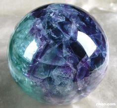 "Huge 3.1"" Purple & Green Fluorite Sphere, Crystal Ball"