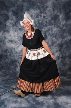 Traditional Volendam Costume. Volendam is a small, old fishing town in North Holland. When most people think of Dutch costumes, it's the traditional clothing of Volendam that they're thinking of.
