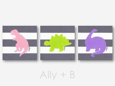 These pink, lime green, and purple dinosaur prints are perfect for a girls nursery or bedroom! ♥ Handcrafted prints of my original colored pencil