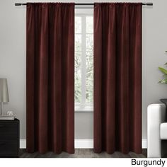 96 Inch Girls Burgundy Color Blackout Lined Curtain Single Panel Dark Red Allover Pattern Window Drapes Kids Themed Insulated Thermal Rod Pocket