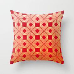 Fire Throw Pillow by Gréta Thórsdóttir - $20.00  #scandinavian #snowflake #heat, #passion #red #gold #pattern #livingroom