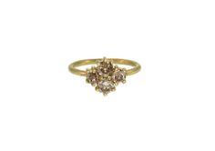 18K Gold Cognac Diamond Cluster Ring