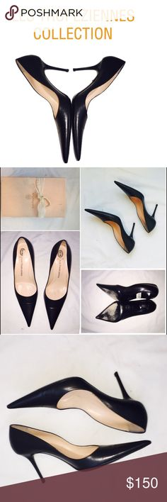 """Les Tropeziennes Leather Stilettos I'm so addicted to pointy toe pumps and these black leather Les Tropeziennes stilettos are a beauty. Roughly 4"""" high, Made in Italy. Beautiful workmanship in such cute packaging. Heel lifts included. Worn a few times, but in excellent condition. Les Tropeziennes Shoes Heels"""