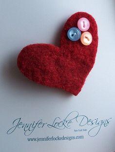 Repurposed Felted Wool Brooch  Red  Sweet by jenniferlockedesigns