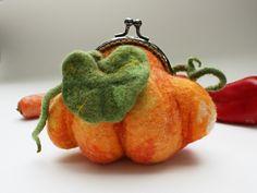 Items similar to Felted Wool Purse Orange Kiss Lock Pouch Halloween Gift Pumpkin Decoration Cosmetic Pouch Orange Pumpkins Felt Wallet on Etsy Felt Wallet, Felt Purse, Coin Purse, Orange Purse, Wool Felt, Felted Wool, Felted Bags, Felt Gifts, Cosmetic Pouch